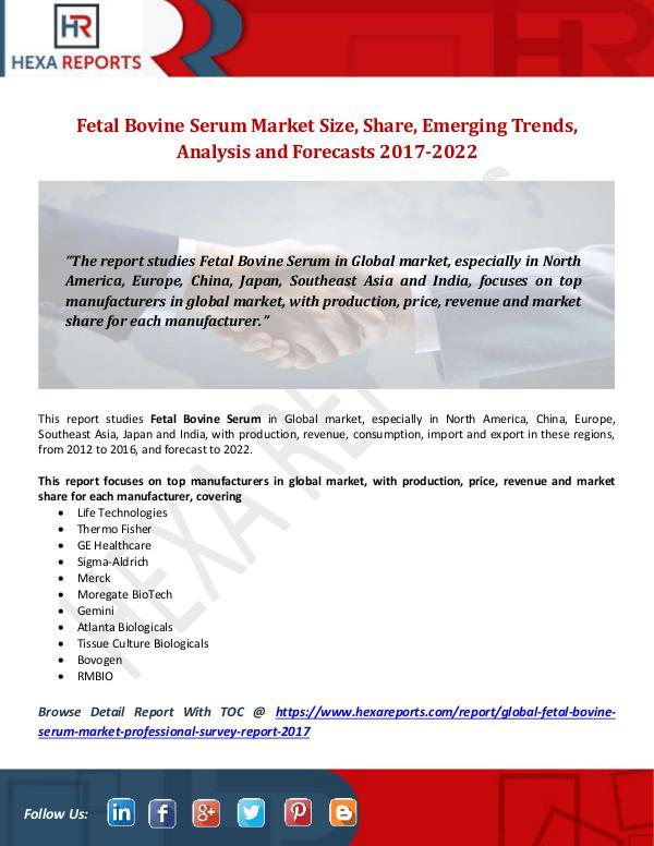 Fetal Bovine Serum Market Size, Share, Emerging Tr