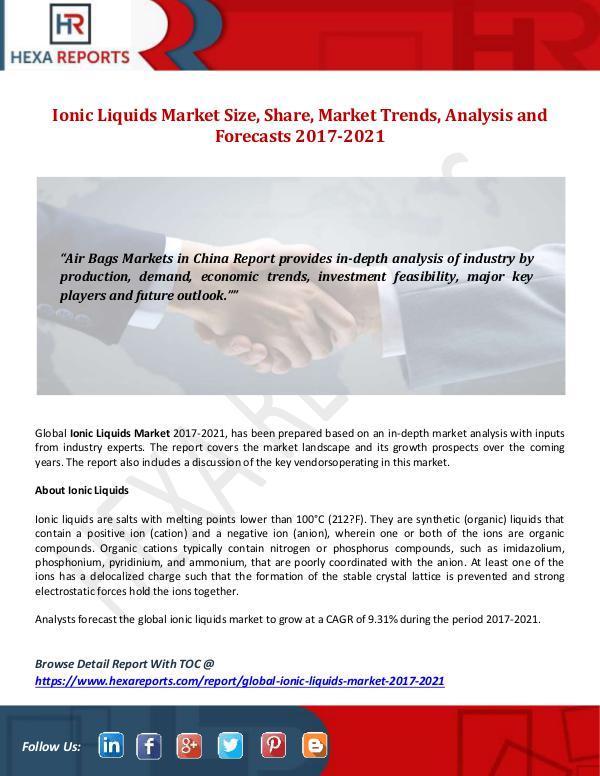 Hexa Reports Ionic Liquids Market Size, Share, Market Trends, A