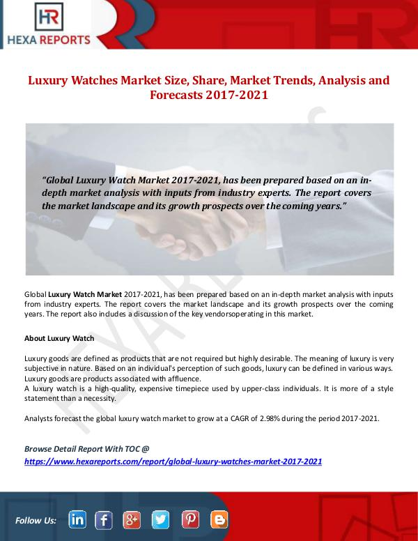 Hexa Reports Luxury Watches Market Size, Share, Market Trends,