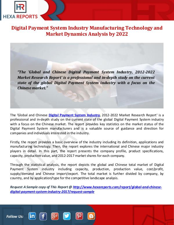 Hexa Reports Digital Payment System Industry Share, Manufacturi