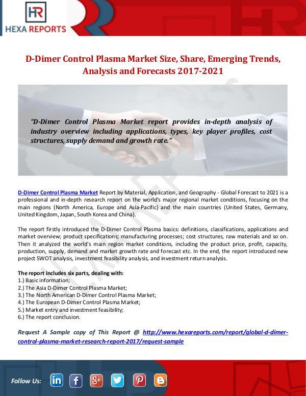 Hexa Reports D-Dimer Control Plasma Market Size, Share, Emergin