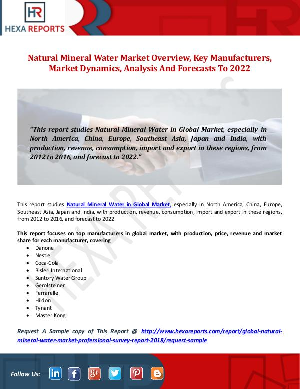 Natural Mineral Water Market Overview, Key Manufac