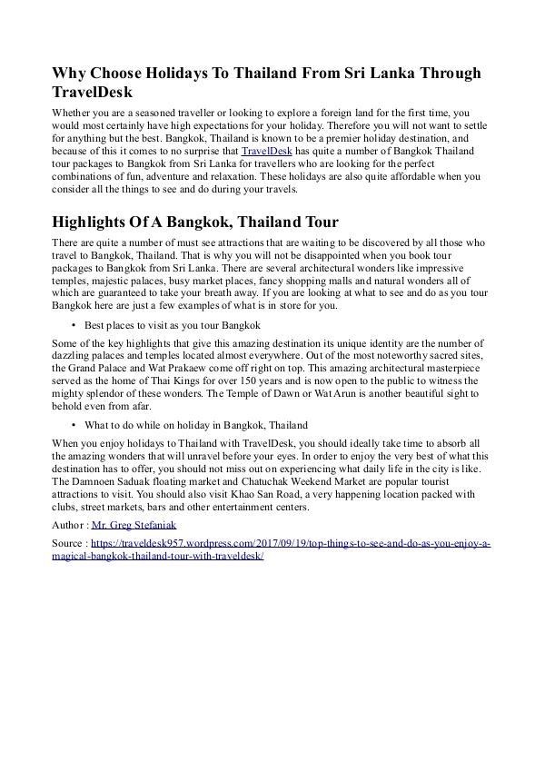 The Travek Desk Bangkok, Thailand Tour with TravelDesk