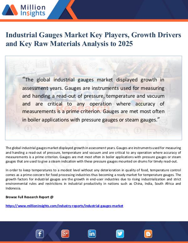 Industrial Gauges Market Key Players, Growth Drive