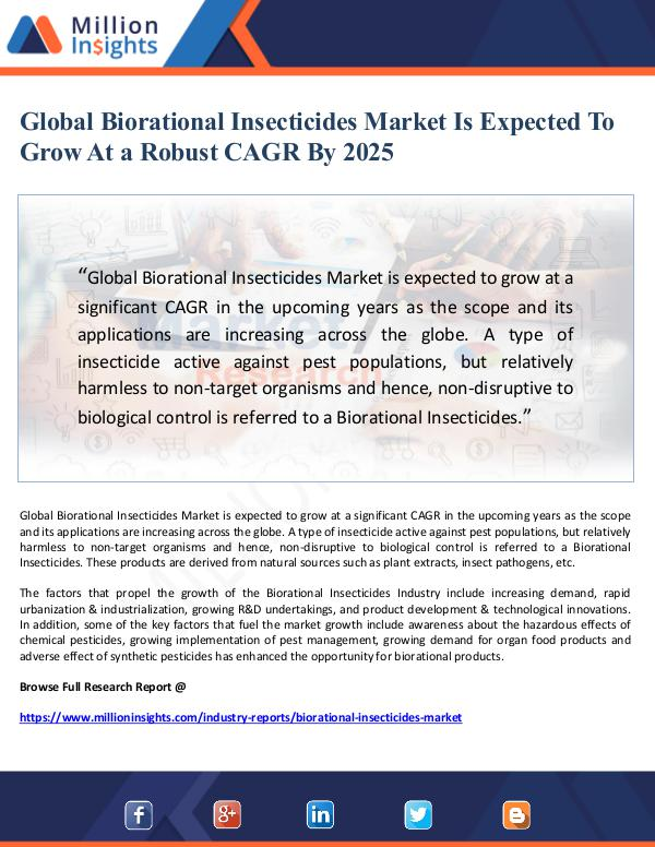 Global Biorational Insecticides Market Is Expected