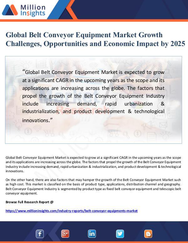 Global Belt Conveyor Equipment Market Growth Chall