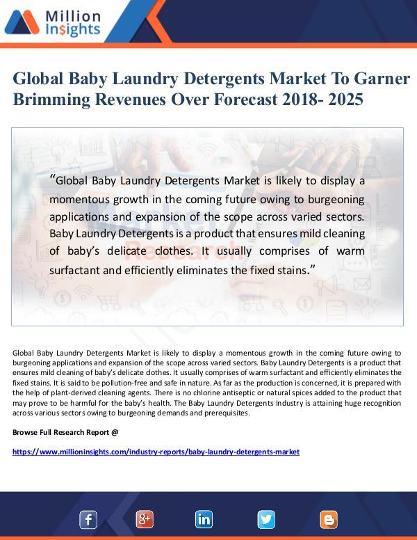 Global Baby Laundry Detergents Market To Garner Br
