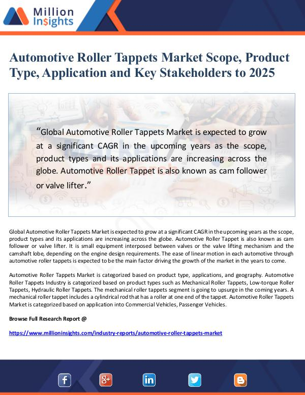 Market Giant Automotive Roller Tappets Market Scope, Product Ty
