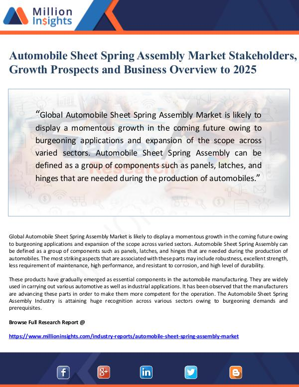 Market Giant Automobile Sheet Spring Assembly Market Stakeholde