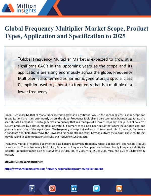 Global Frequency Multiplier Market Scope, Product