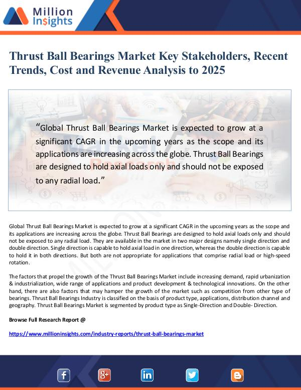Market Giant Thrust Ball Bearings Market Key Stakeholders, Rece