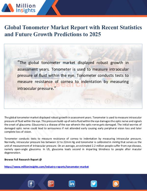 Market Giant Global Tonometer Market Report with Recent Statist