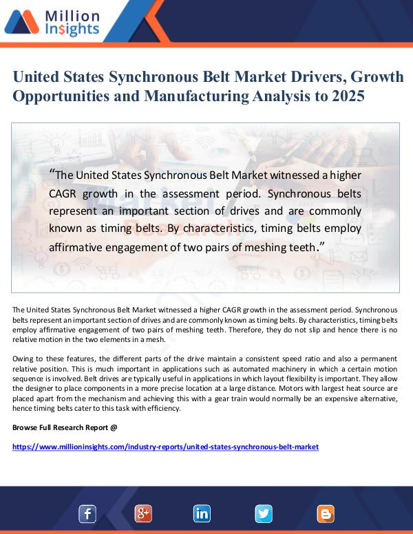 United States Synchronous Belt Market Drivers, Gro