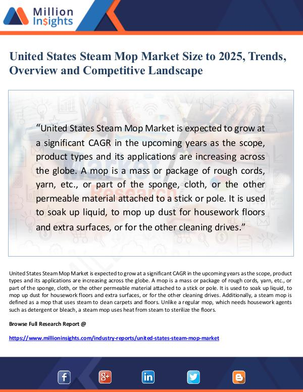 United States Steam Mop Market Size to 2025, Trend