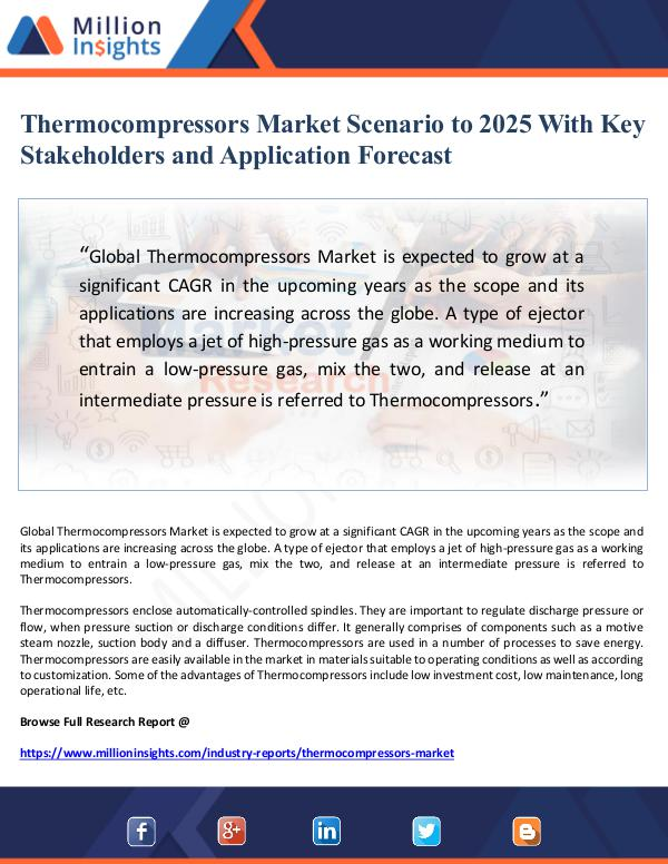 Thermocompressors Market Scenario to 2025 With Key