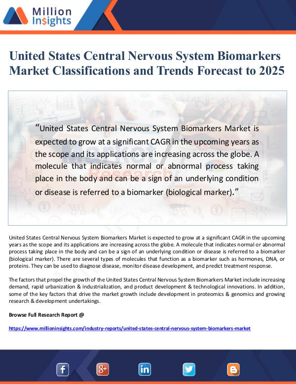 United States Central Nervous System Biomarkers Ma