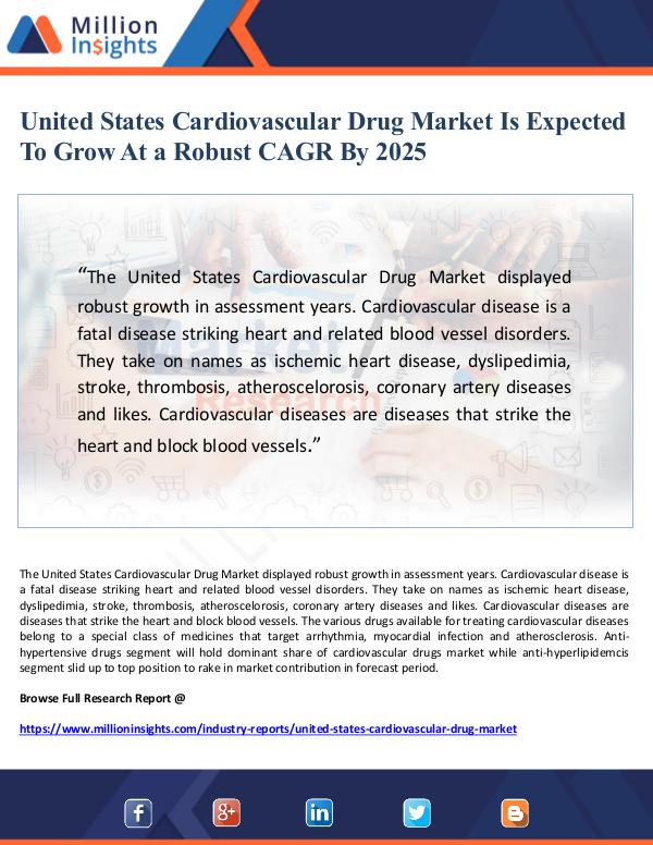 United States Cardiovascular Drug Market Is Expect