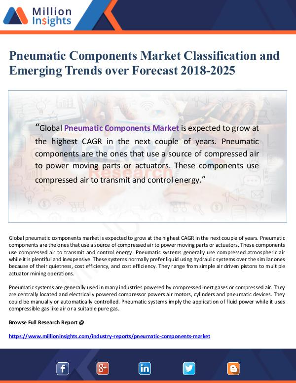 Pneumatic Components Market Classification and Eme