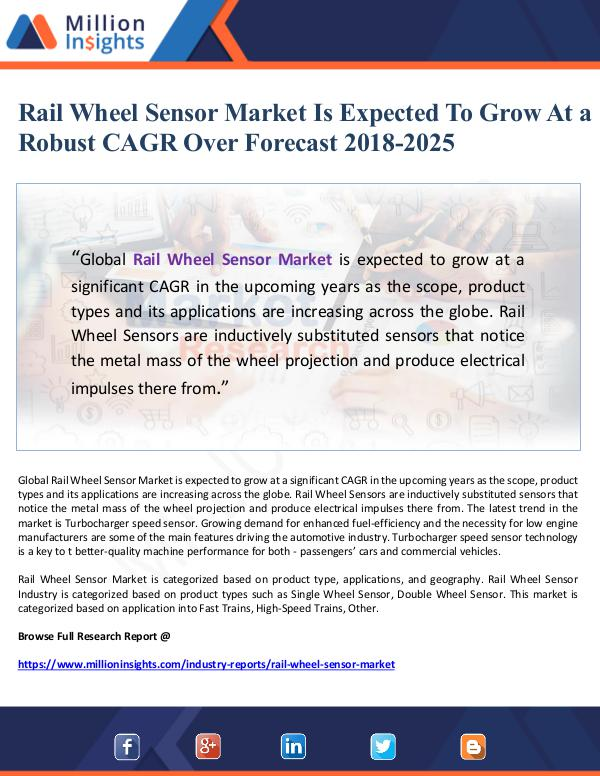 Rail Wheel Sensor Market Is Expected To Grow At a