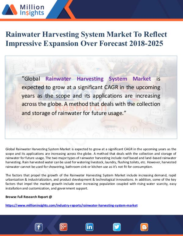 Market Giant Rainwater Harvesting System Market To Reflect Impr