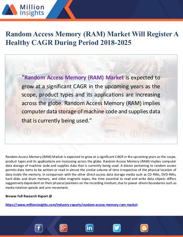 Random Access Memory (RAM) Market Will Register A