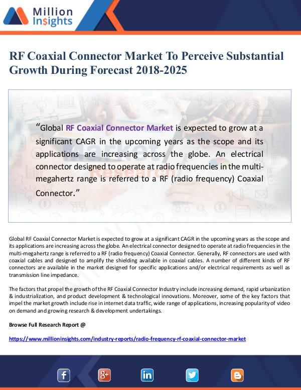 RF Coaxial Connector Market To Perceive Substantia