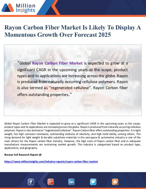 Market Giant Rayon Carbon Fiber Market Is Likely To Display A M