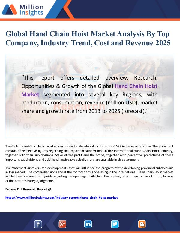 Global Hand Chain Hoist Market Analysis By Top Com