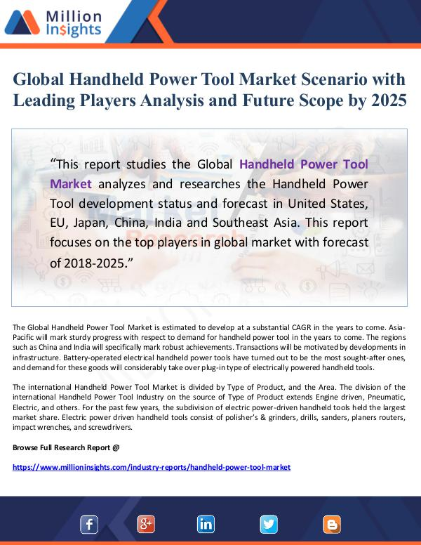 Global Handheld Power Tool Market Scenario with Le