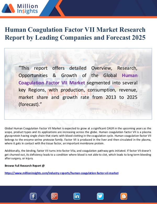 Human Coagulation Factor VII Market Research Repor