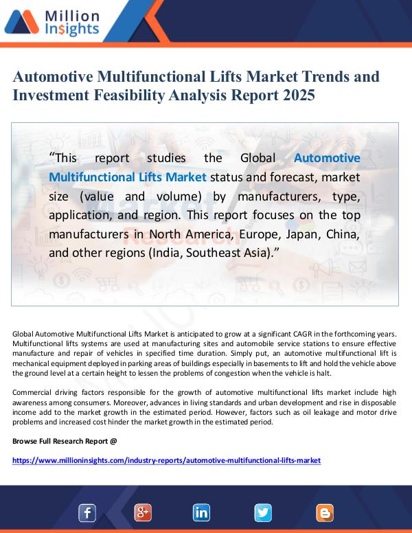 Market Giant Automotive Multifunctional Lifts Market Trends and
