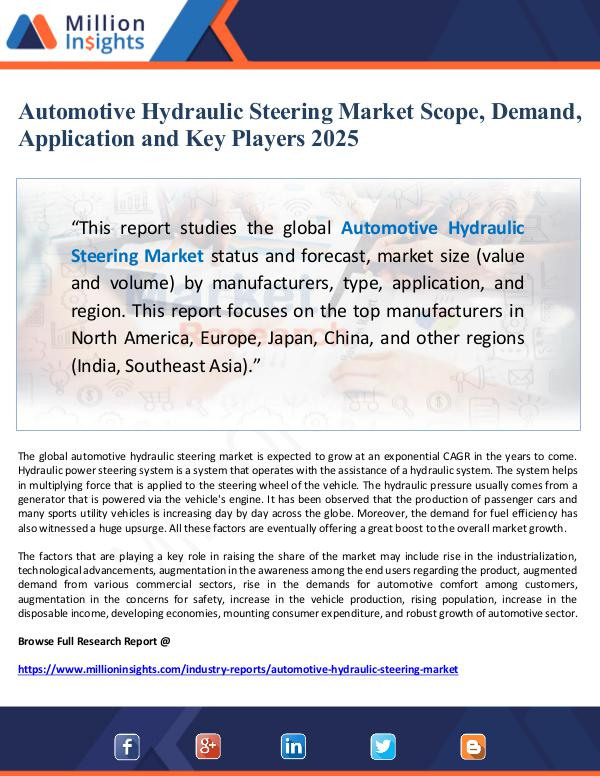 Automotive Hydraulic Steering Market Scope, Demand
