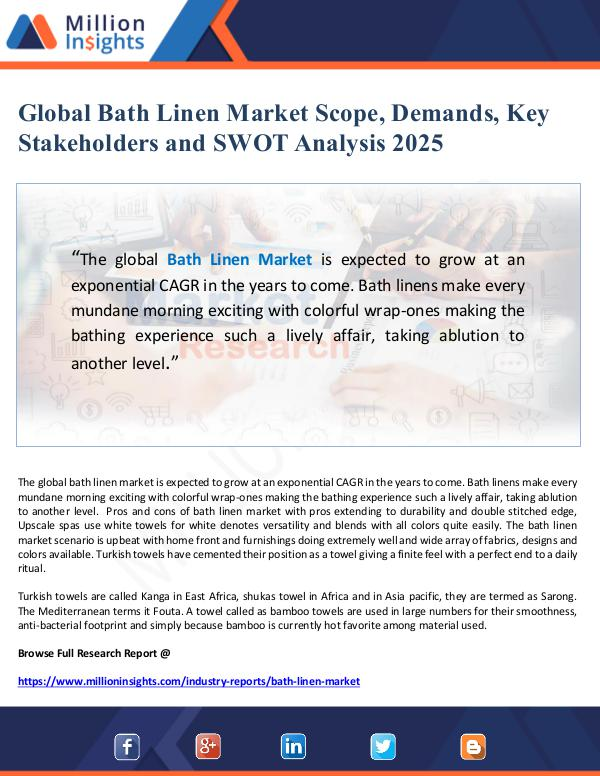 Global Bath Linen Market Scope, Demands, Key Stake