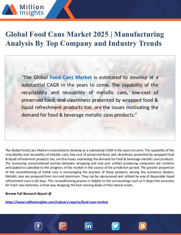 Global Food Cans Market 2025 - Manufacturing Analy