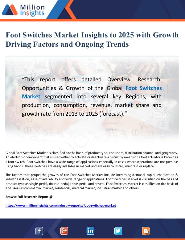 Foot Switches Market Insights to 2025 with Growth