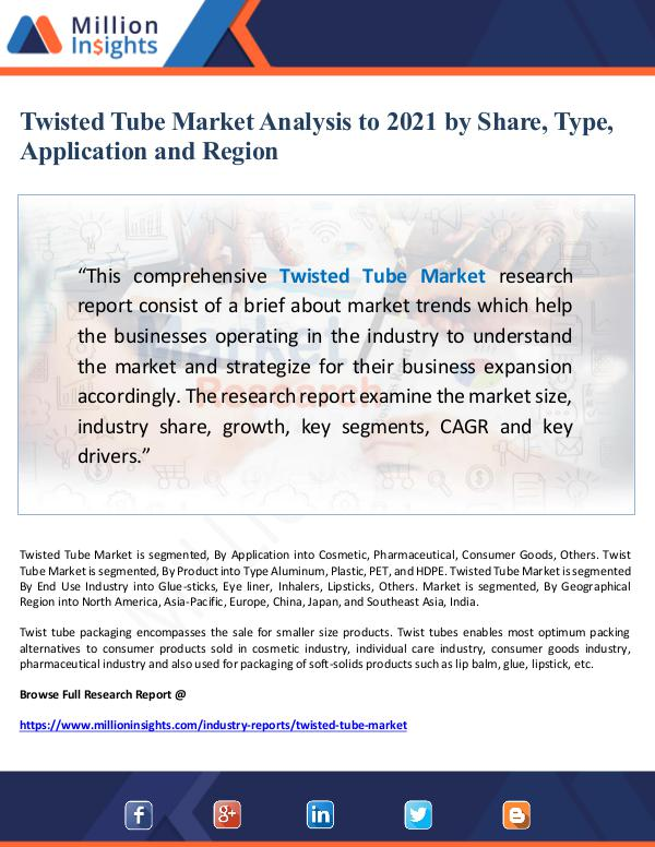 Twisted Tube Market Analysis to 2021 by Share, Typ