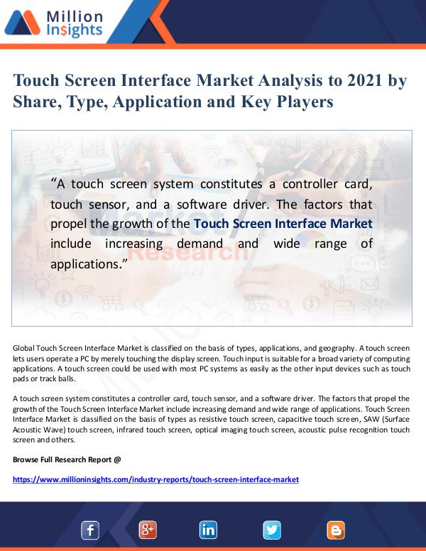 Touch Screen Interface Market Analysis to 2021 by