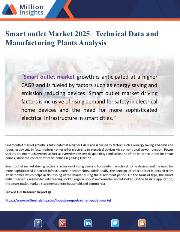 Smart outlet Market 2025 - Technical Data and Manu