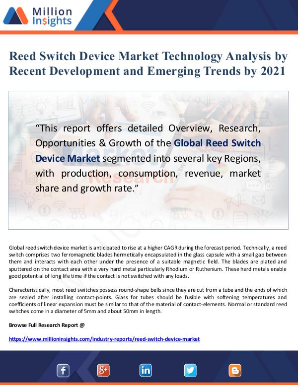 Reed Switch Device Market Technology Analysis by R