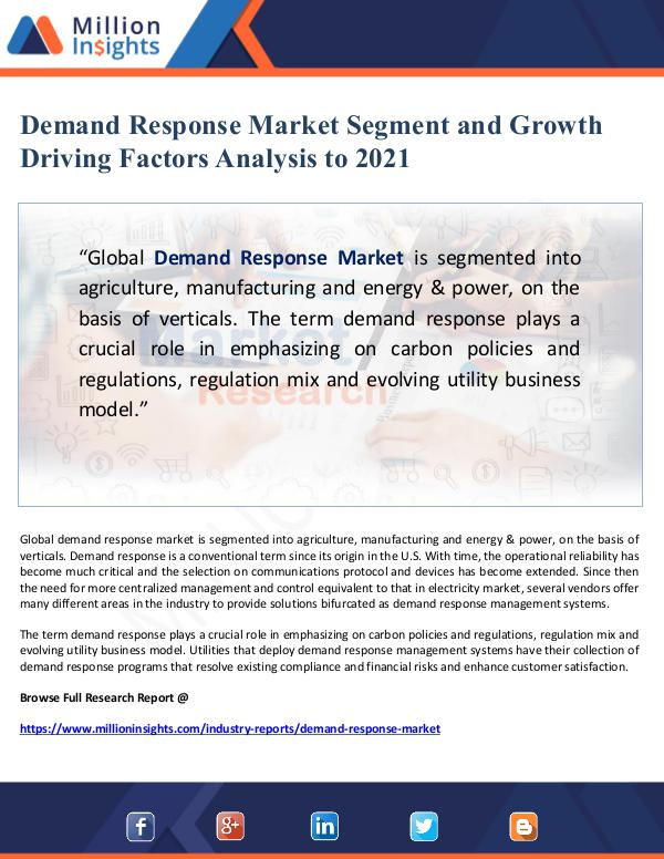 Global Research Demand Response Market Segment and Growth Driving