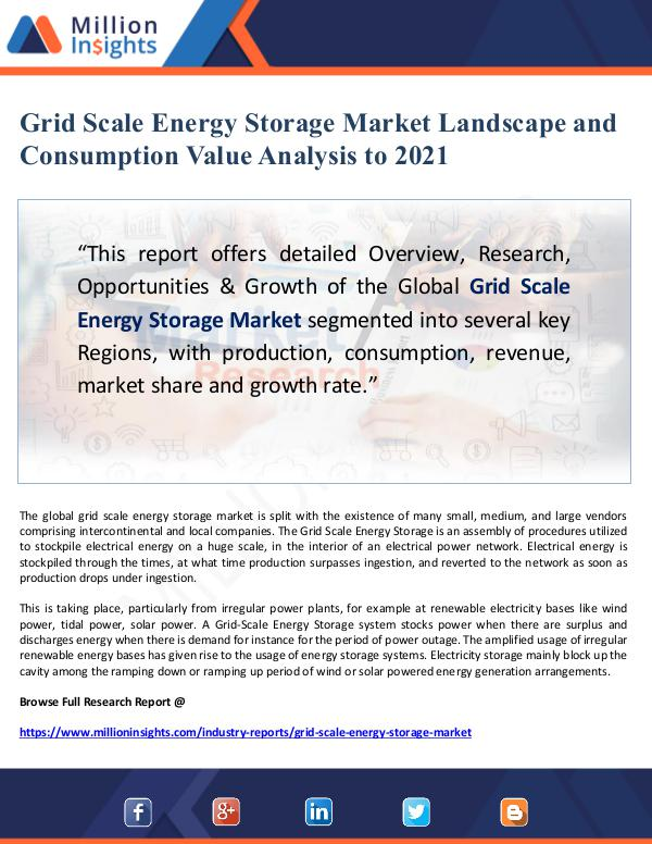 Grid Scale Energy Storage Market Landscape and Con