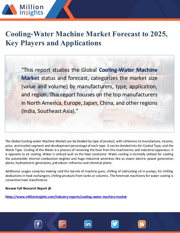 Cooling-Water Machine Market Forecast to 2025, Key