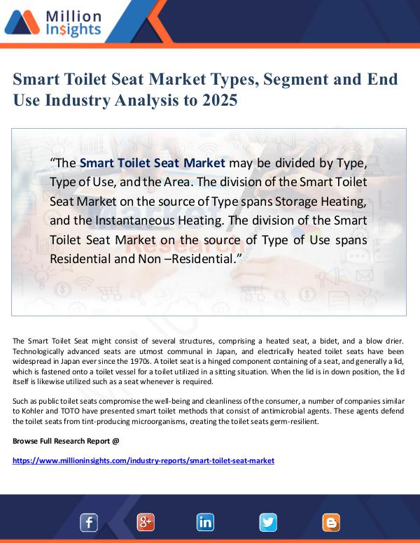 Global Research Smart Toilet Seat Market Types, Segment and End Us
