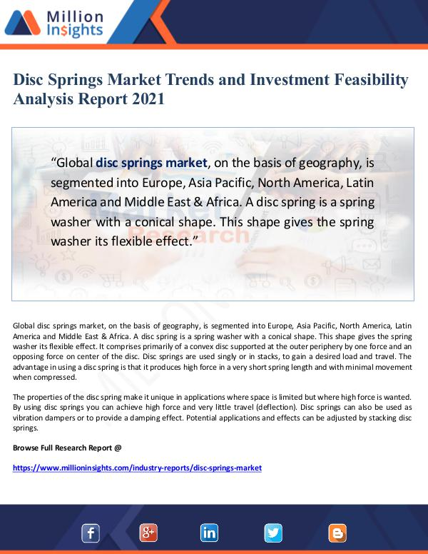 Global Research Disc Springs Market Trends and Investment Feasibil