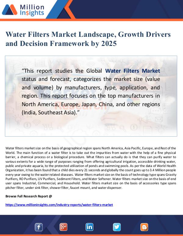 Global Research Water Filters Market Landscape, Growth Drivers and