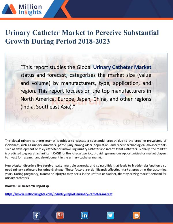 Urinary Catheter Market to Perceive Substantial Gr