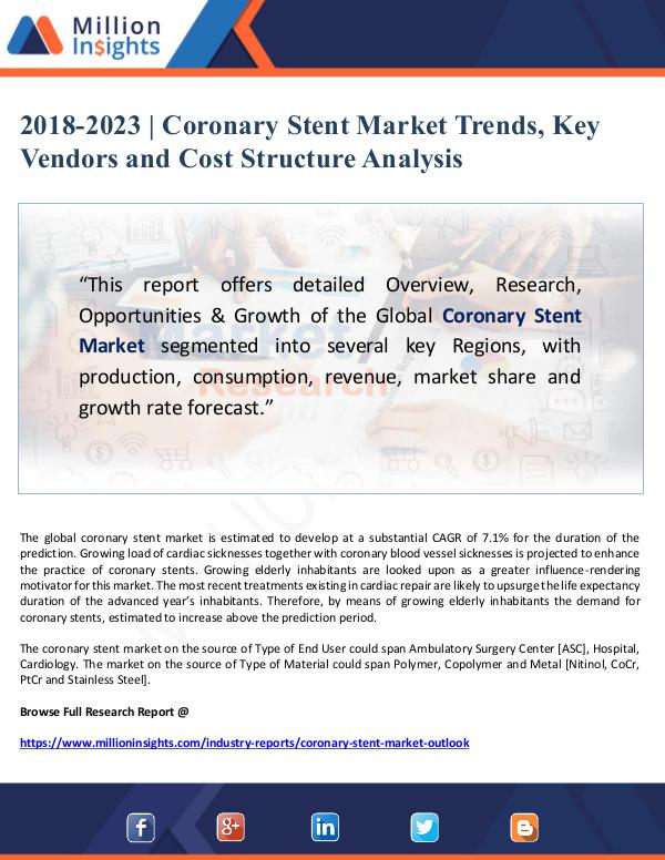 Market Giant 2018-2023 Coronary Stent Market Trends, Key Vendor