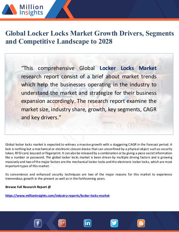 Market Giant Global Locker Locks Market Growth Drivers, Segment