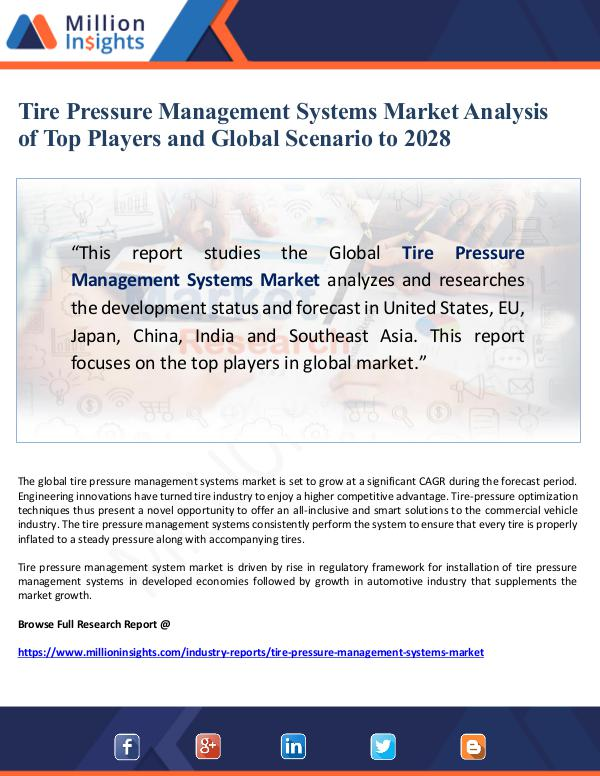 Global Research Tire Pressure Management Systems Market Analysis
