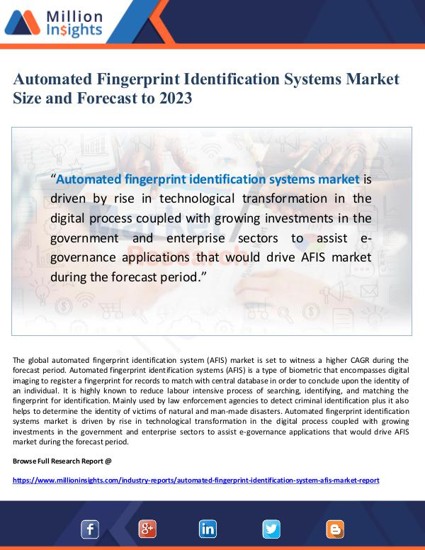 Automated Fingerprint Identification Systems Marke
